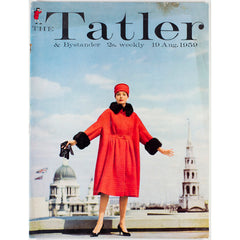 Red coat and hat London rooftop St Pauls Tatler Magazine 19th August 1959