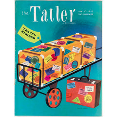 Travel Number Illustrated cover The Tatler Magazine 30th January 1957