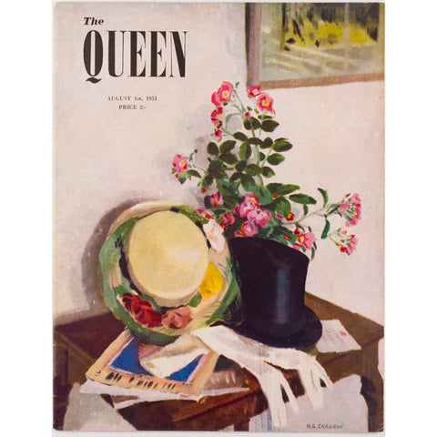 The Queen magazine 1st August 1951 Vintage Fashion illustrated cover by Cardew