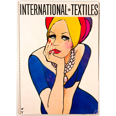 Rene Gruau International Textiles Number 478 1971 Rare Illustration