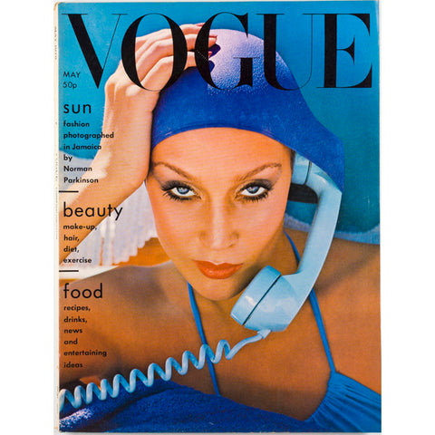 JERRY HALL ANTONIO LOPEZ by NORMAN PARKINSON VOGUE Magazine May 1975