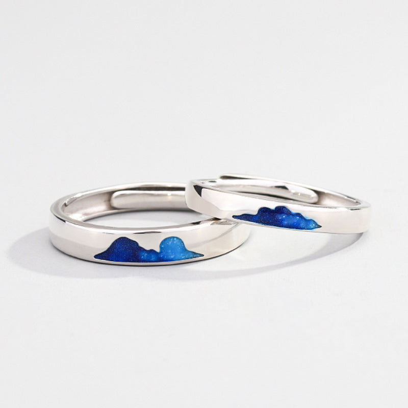 925 Couple Ring Blue Sky