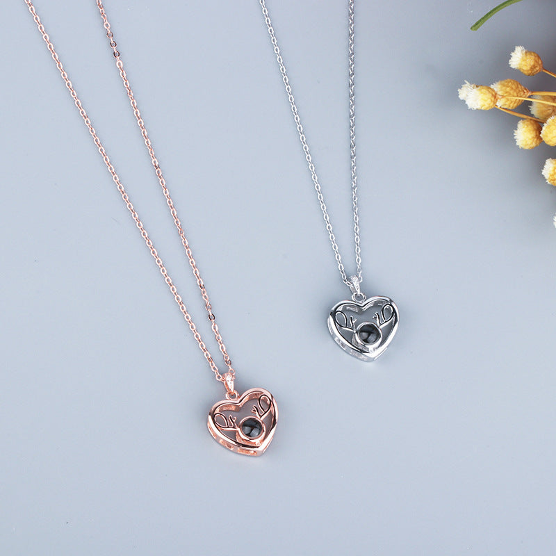 925 Silver 100 Language I LOVE YOU Heart Deer Necklace