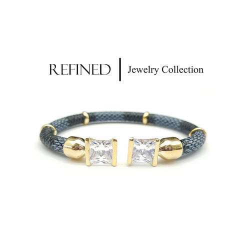 R010 - Square Diamond Gold Refined Bangle