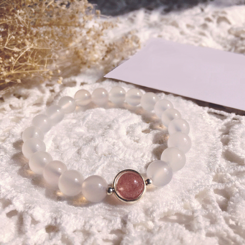 925 silver White agate with Strawberry crystal bracelet