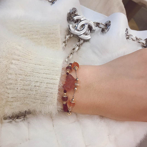 Pink strawberry crystal bracelet student Korean version simple braided bracelet female wild animal transfer bead bracelet gift s006