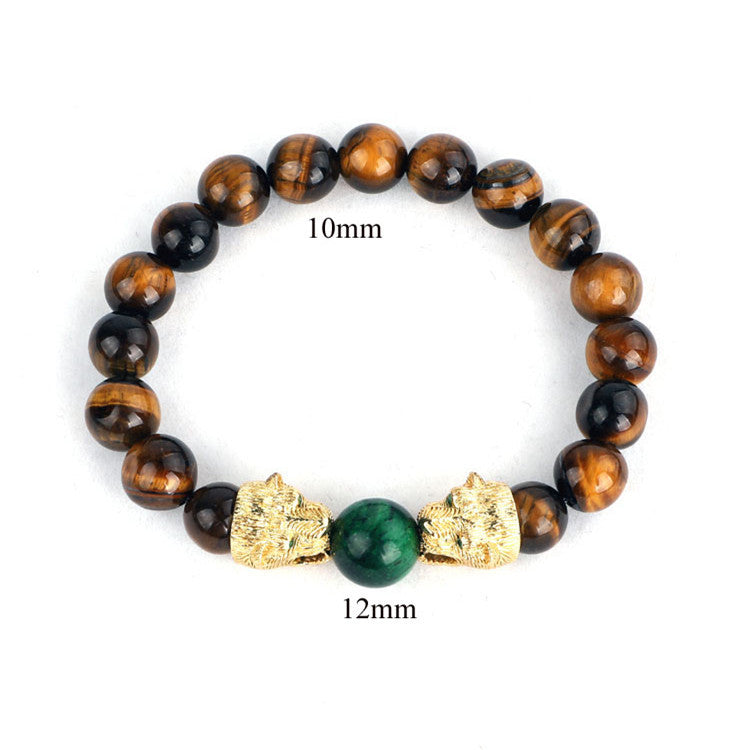 B060 Tiger Eye Leopard Head Bracelet
