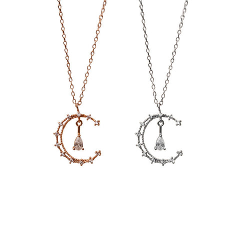 925 Silver Moon Minimalist Necklace