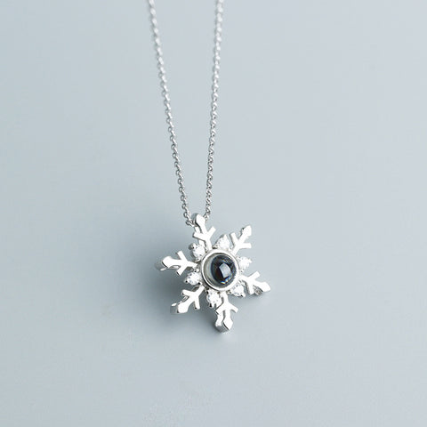 925 Silver 100 Language I LOVE YOU Snow Necklace