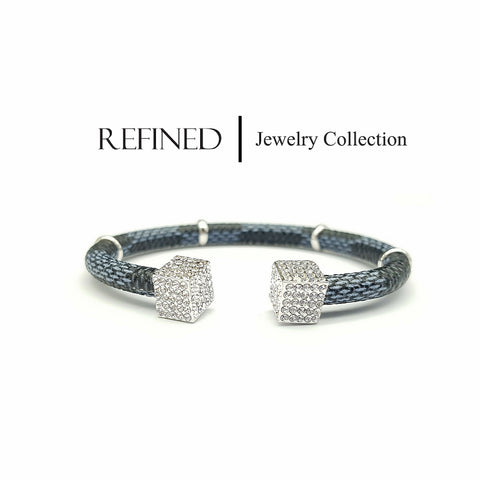 R013 - Square Rhinestone Crystal Silver Refined Bangle
