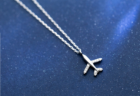 925 Silver Travel Airplane Necklace