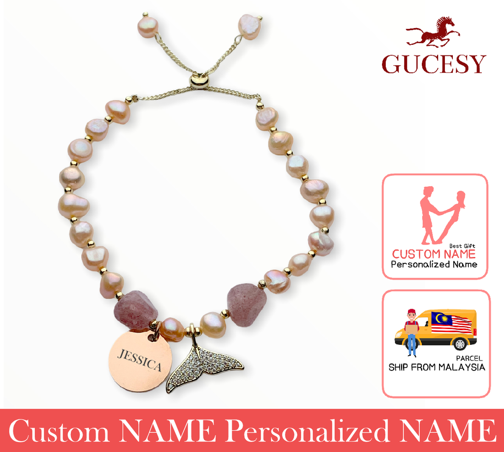 GUCESY Personalized Name Baroque Fishtail Pearl Bracelet Hadiah GIFT GIVING READY Custom Name