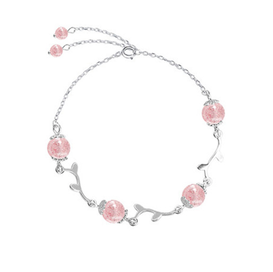 925 Silver Strawberry Crystal Bracelet