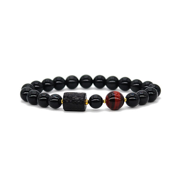 Natural Ebony Obsidian Red/Yellow Tiger Eye Bracelet