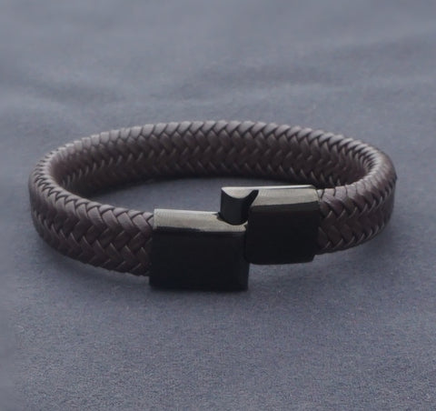 B043 Leather Titanium Steel Bracelet