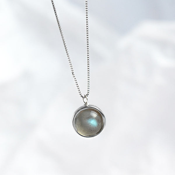 B003 925 Silver Moon Stone Necklace