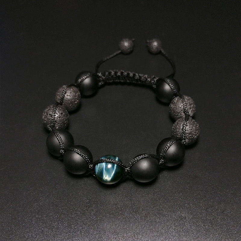 B027 Blue Tiger Eye with Volcanic Stone Bracelet