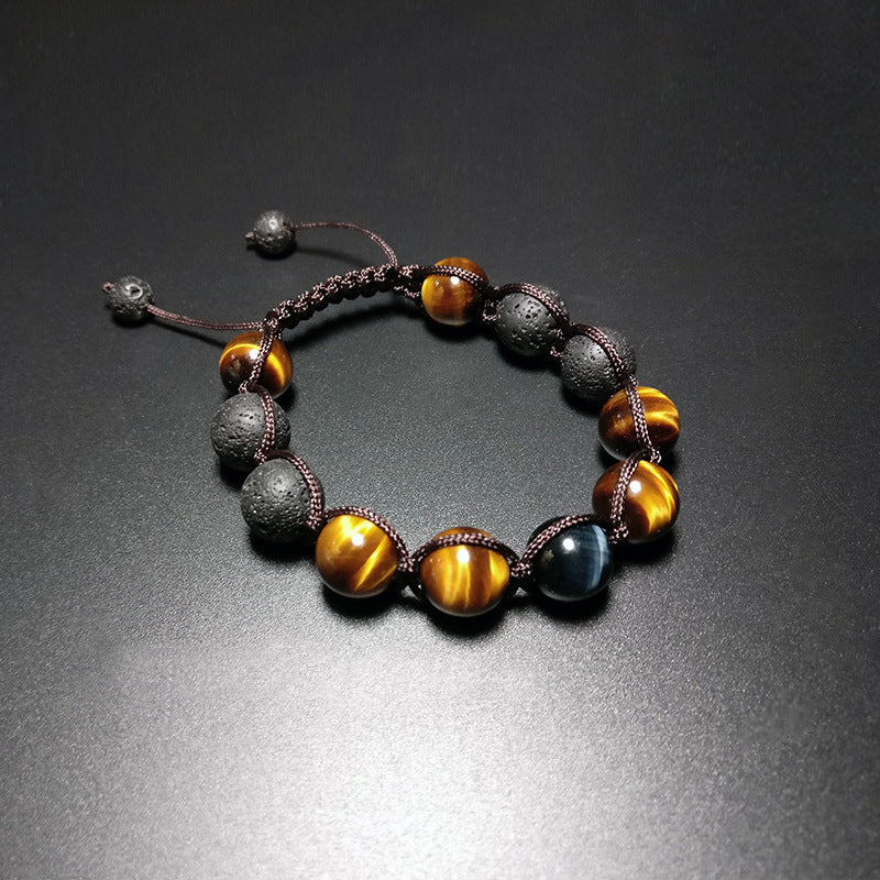 B025 B026 Blue Yellow Tiger Eye with Volcanic Stone Bracelet