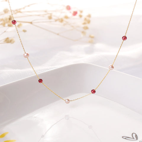 B009 Natural Pearl Garnet Necklace