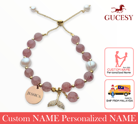 GUCESY Personalized Name Strawberry Crystal Pearl Fishtail Bracelet Hadiah GIFT GIVING READY Custom Name