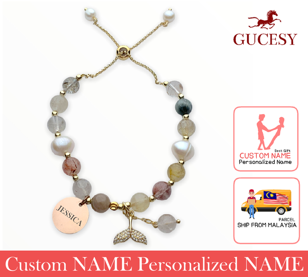 GUCESY Personalized Name TeaHair Crystal Pearl Fishtail Bracelet Hadiah GIFT GIVING READY Custom Name (TeaHair)