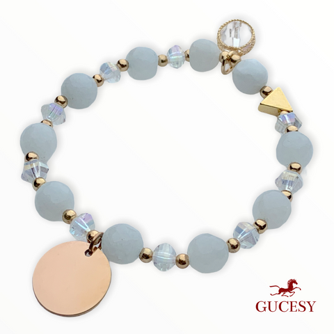 GUCESY Personalized Name Alloy Natural Stone Artificial Crystal Beaded Bracelet Hadiah GIFT GIVING READY Custom Name