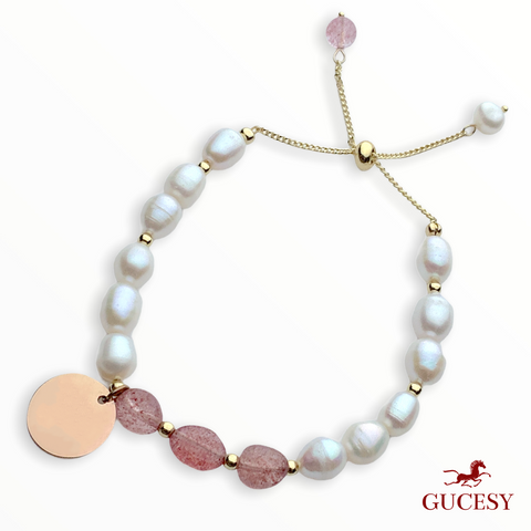 GUCESY Personalized Name Bado Pearl Strawberry Crystal Bracelet Hadiah GIFT GIVING READY Custom Name