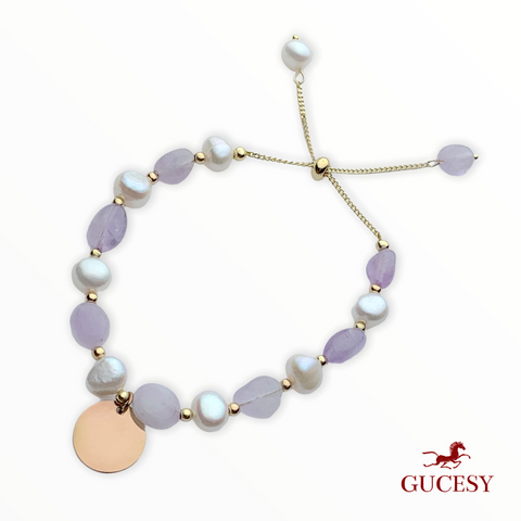 GUCESY Personalized Name Pearl Lavender Purple Slippery Bracelet Hadiah GIFT GIVING READY Custom Name