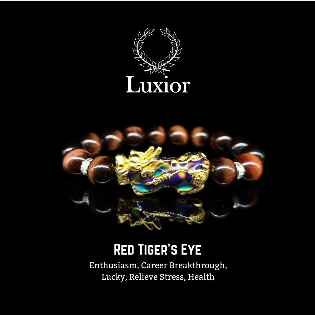RED TIGER'S EYE LUXIOR BRACELET (PIXIU GOLD)