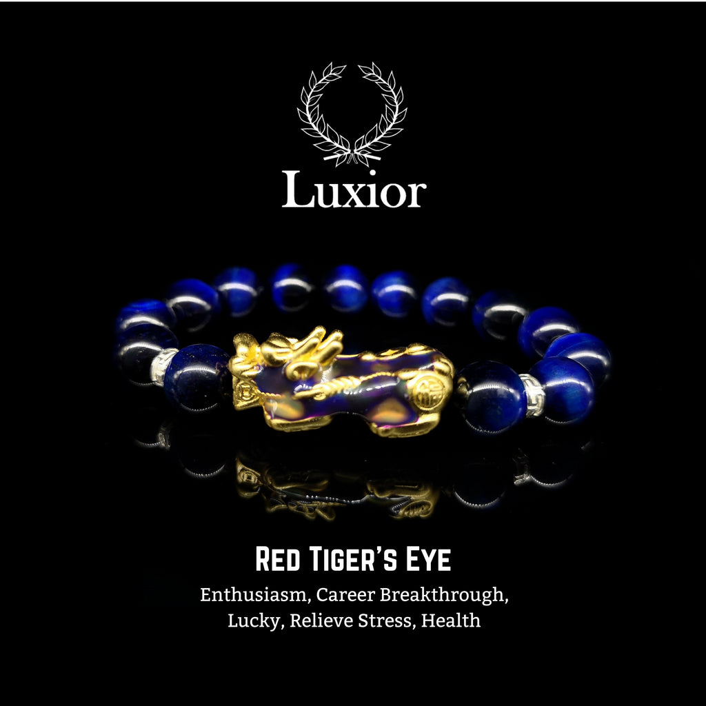 BLUE TIGER'S EYE LUXIOR BRACELET (PIXIU GOLD) - BRAVA OUTLET