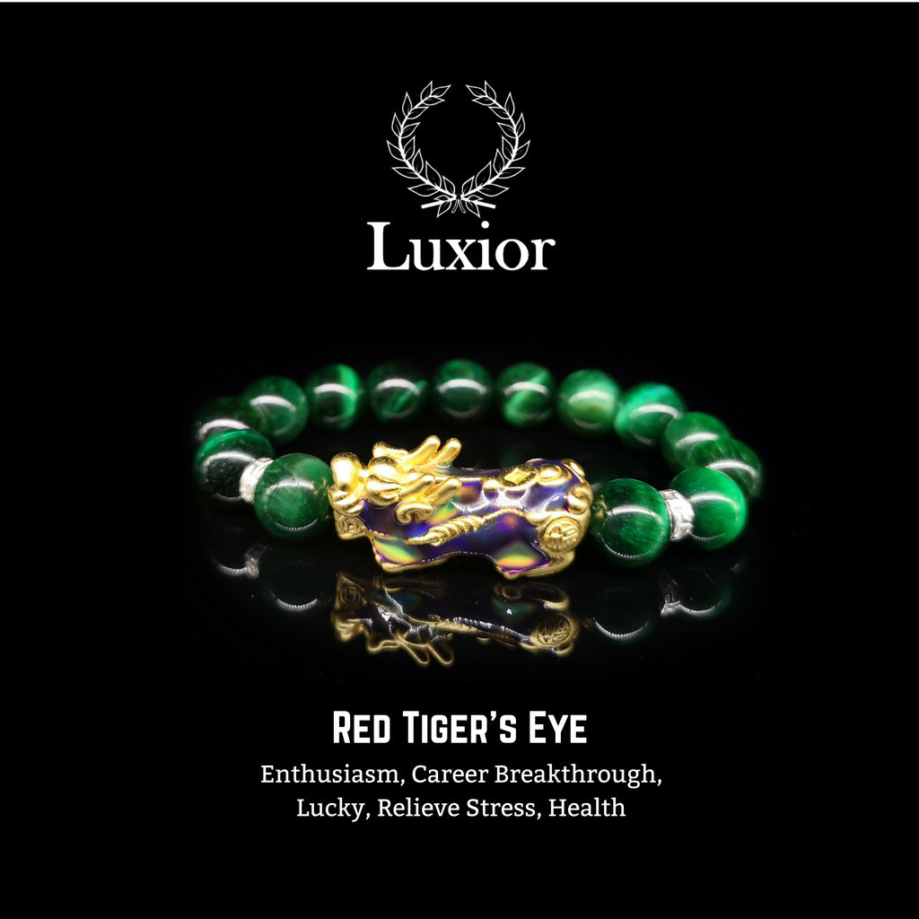 GREEN TIGER'S EYE LUXIOR BRACELET (PIXIU GOLD)