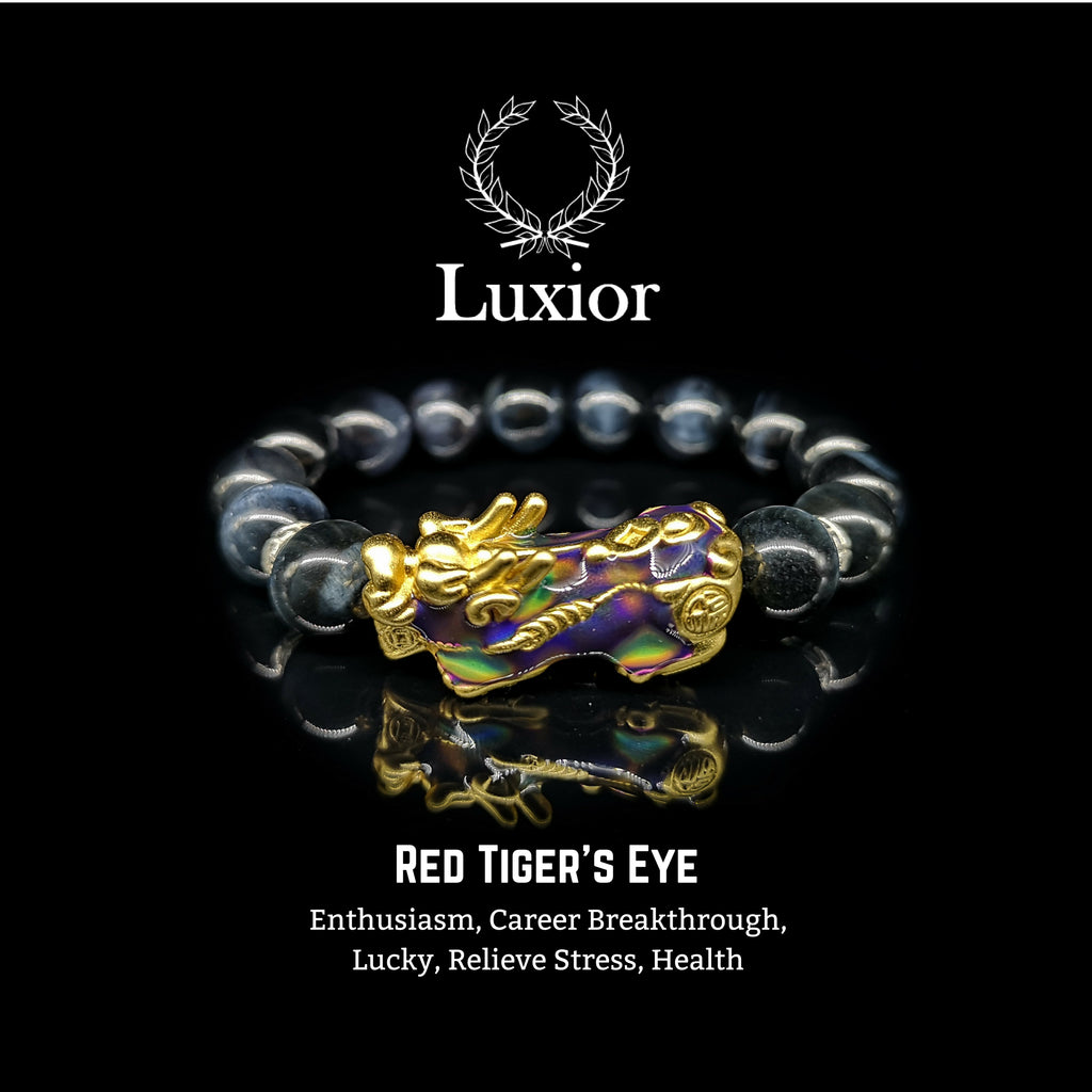 DARK BLUE TIGER'S EYE LUXIOR BRACELET (PIXIU GOLD) - BRAVA OUTLET