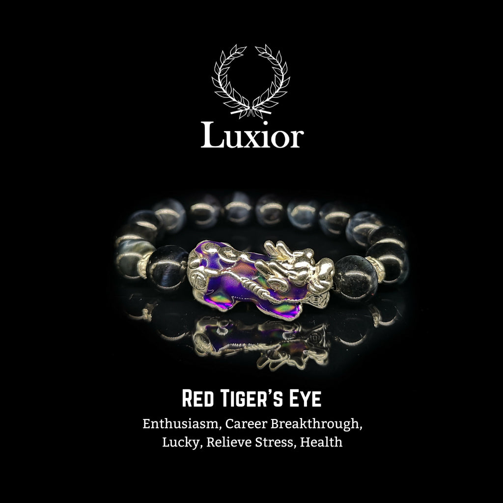 DARK BLUE TIGER'S EYE LUXIOR BRACELET (PIXIU SILVER) - BRAVA OUTLET