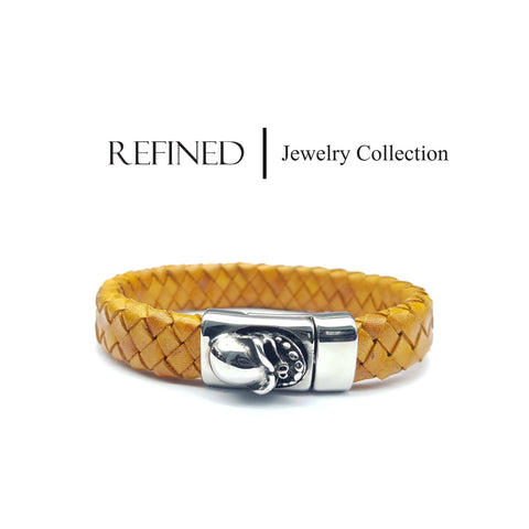 R024 - Skull Refined Yellow Leather Bracelet