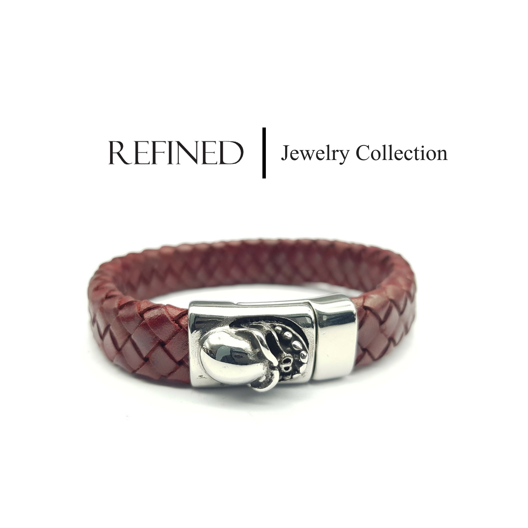 R026 - Skull Refined Red Leather Bracelet