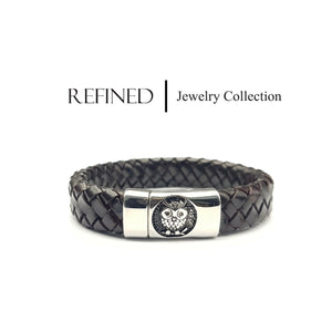 R030 - Owl Refined Black Leather Bracelet