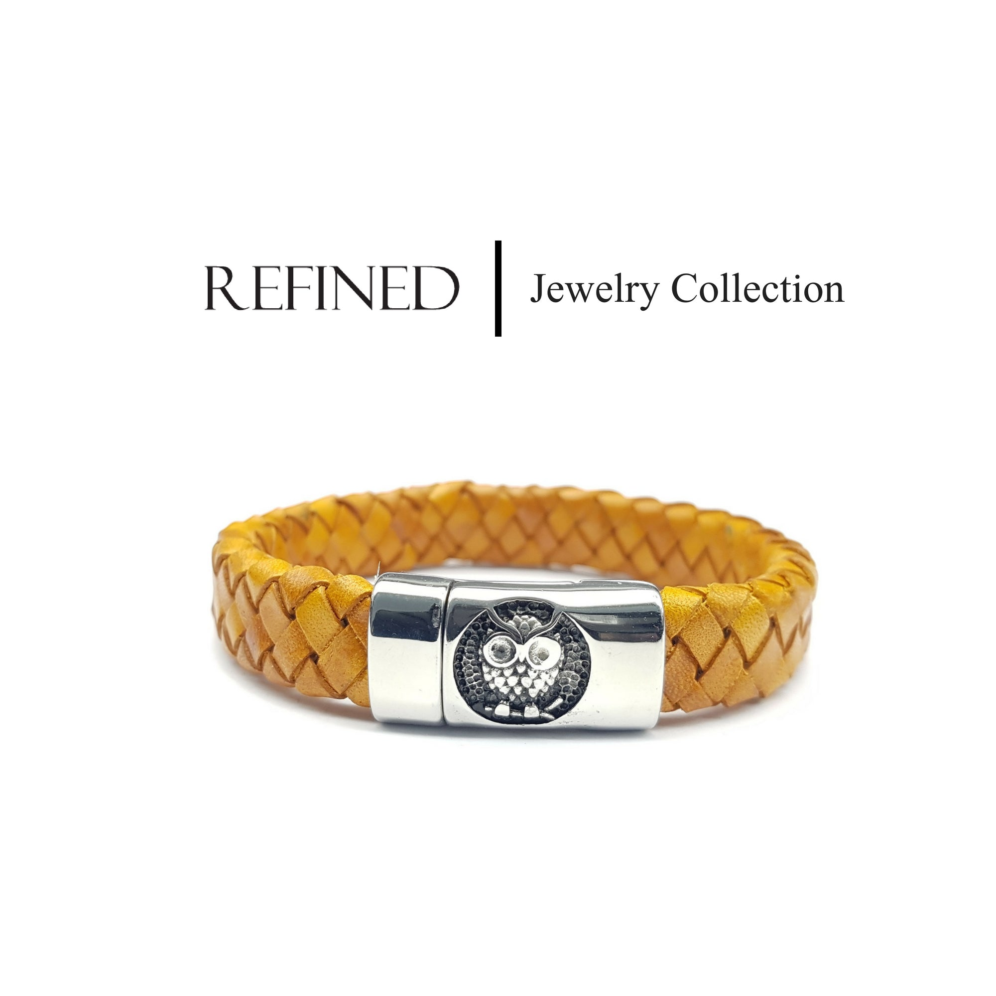 R031 - Owl Refined Yellow Leather Bracelet
