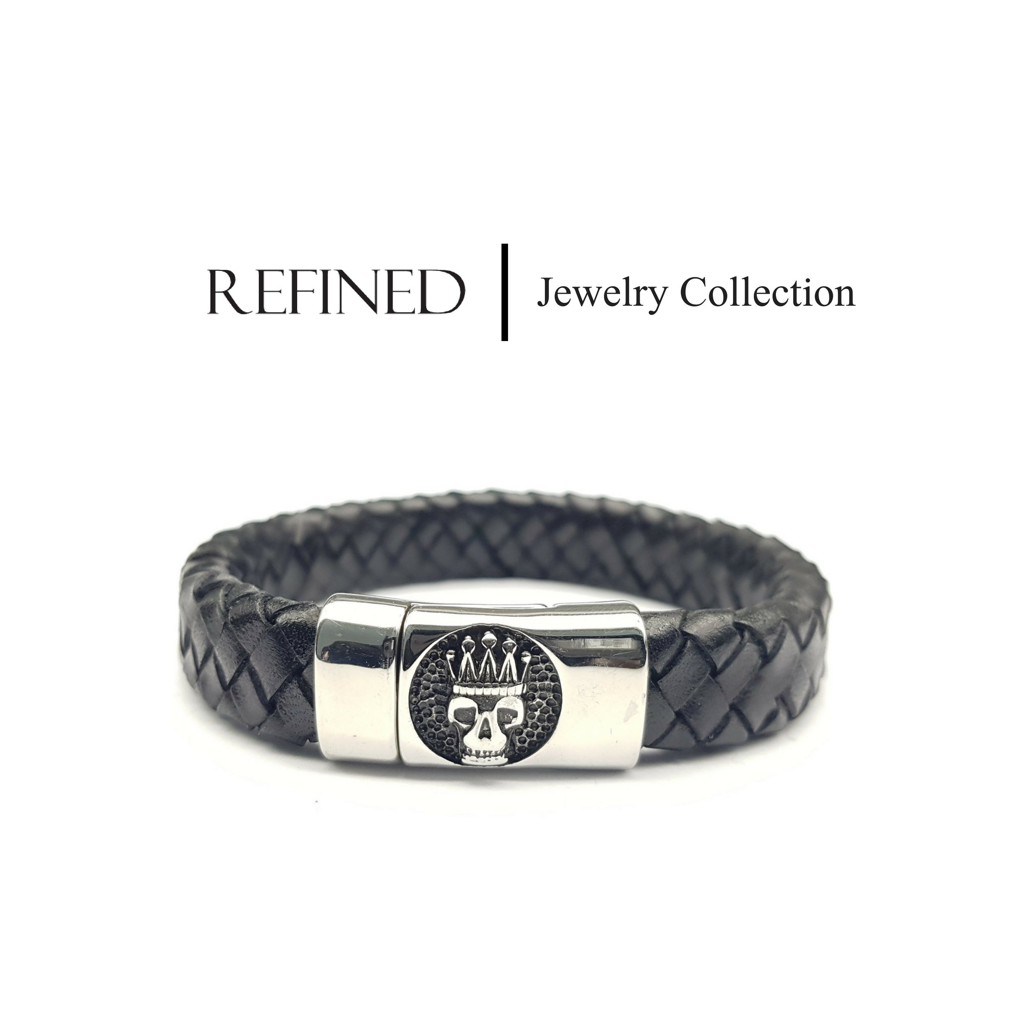 R035 - Skull Refined Black Leather Bracelet