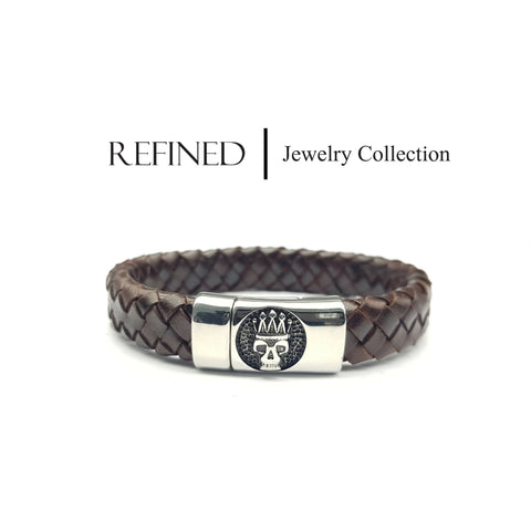 R036 - Skull Refined Brown Leather Bracelet