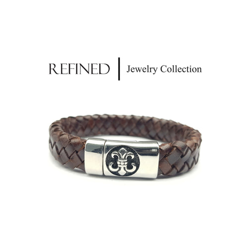 R040 - Boy Scout Refined Brown Leather Bracelet