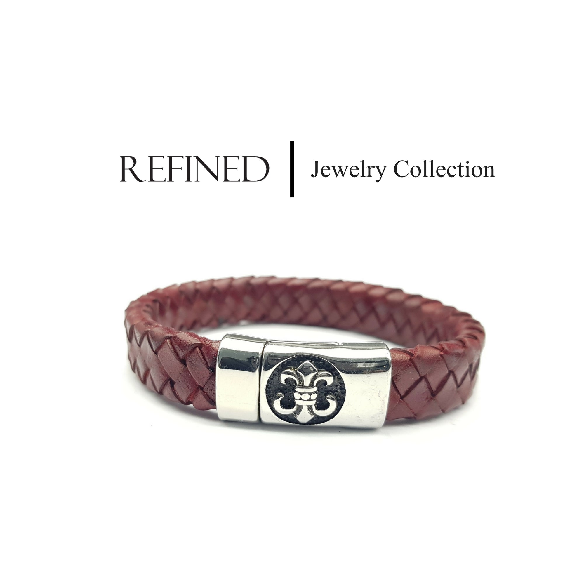 R041 - Boy Scout Refined Red Leather Bracelet