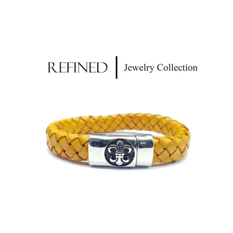 R042 - Boy Scout Refined Yellow Leather Bracelet
