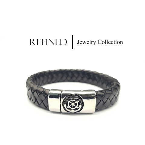 R043 - Anchors Refined Black Leather Bracelet