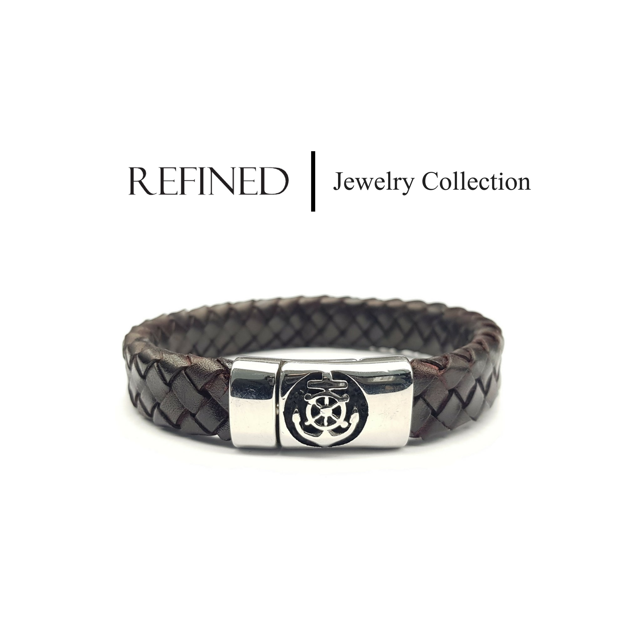 R044 - Anchors Refined Brown Leather Bracelet