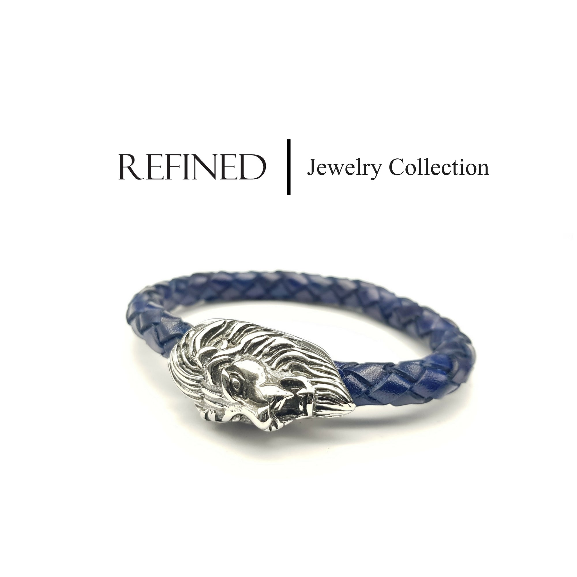 R045 - Lion Refined Blue Leather Bracelet