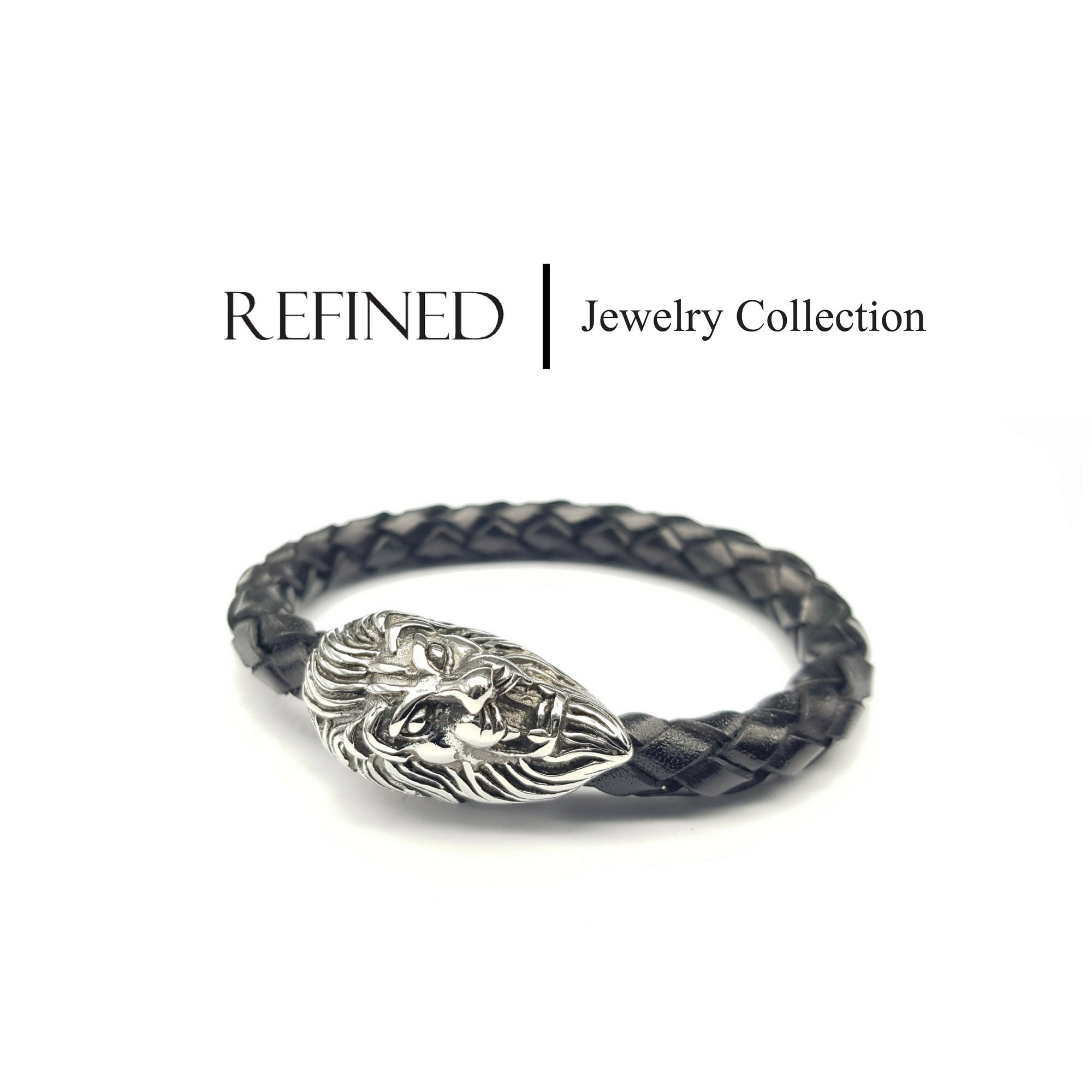 R046 - Lion Refined Black Leather Bracelet
