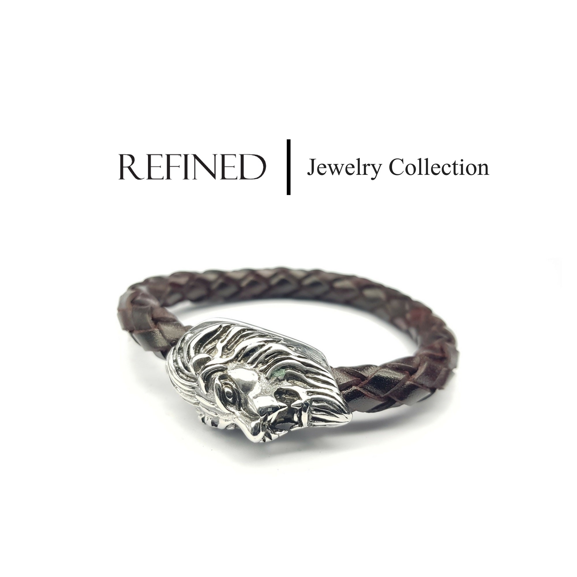 R047 - Lion Refined Brown Leather Bracelet