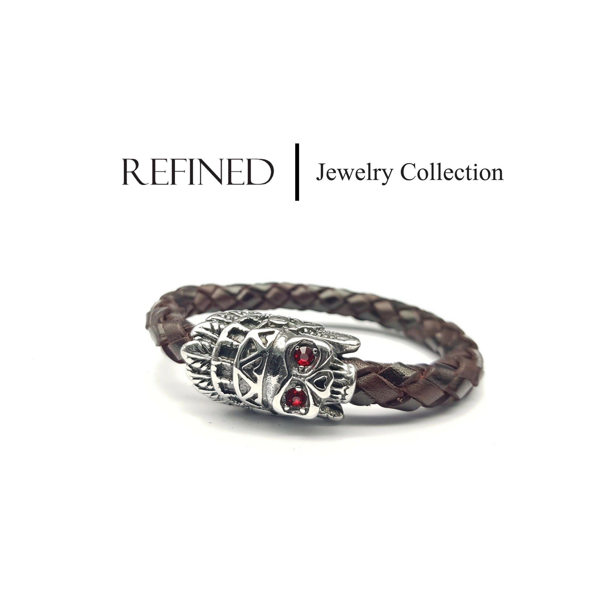 R049 - Skull Refined Brown Leather Bracelet