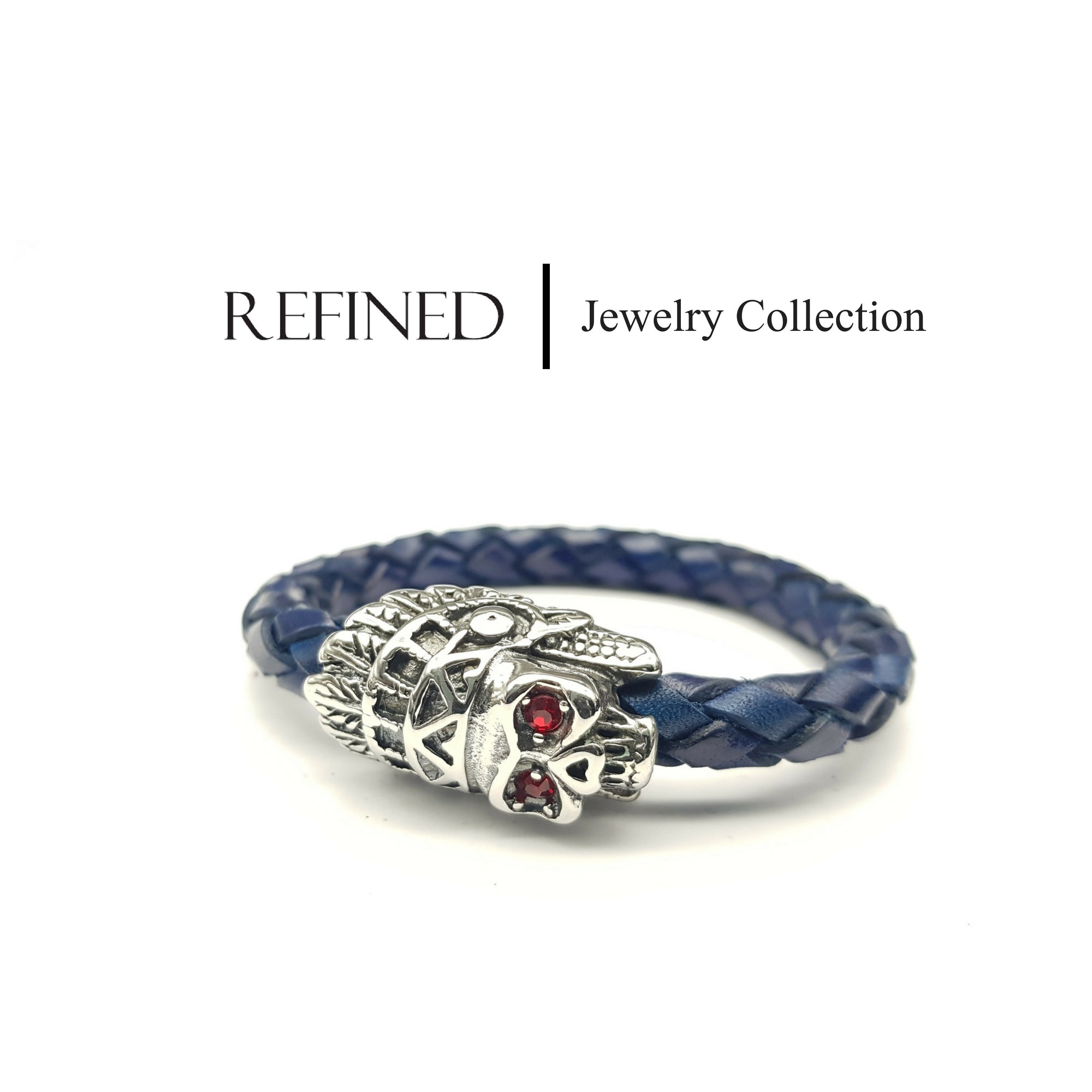 R050 - Skull Refined Blue Leather Bracelet