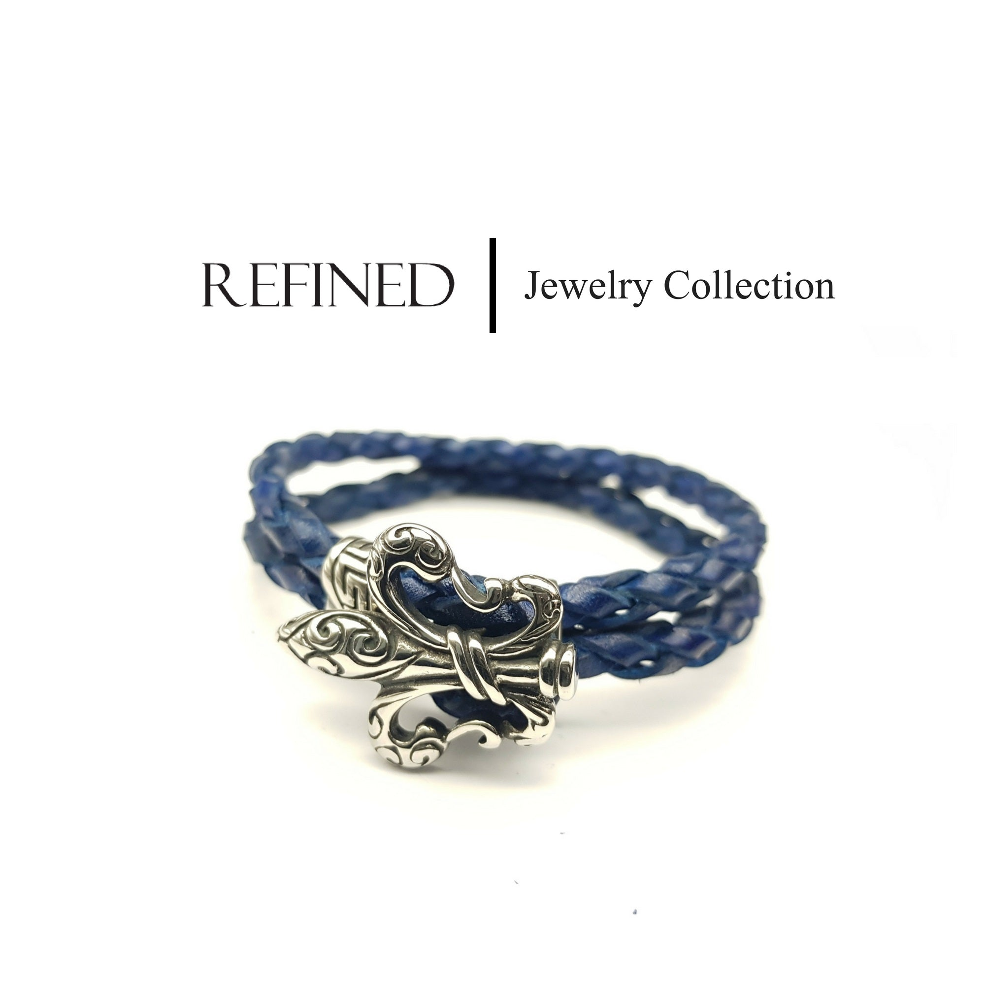 R051 - Boy Scout Refined Blue Leather Bracelet